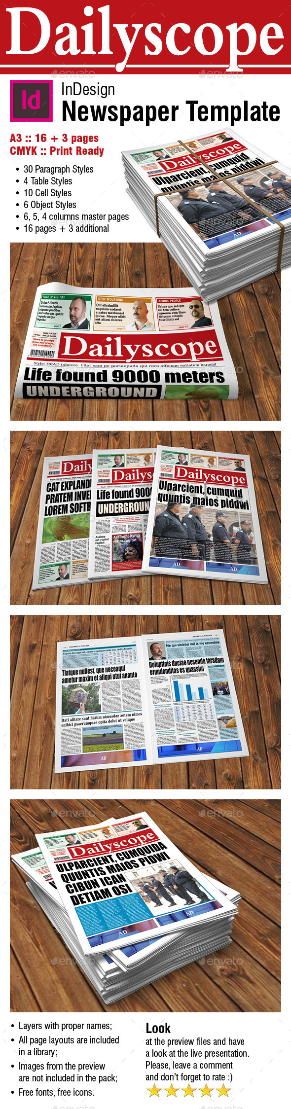 GraphicRiver DailyScope Newspaper Template 16 & 3 Pages 10472123