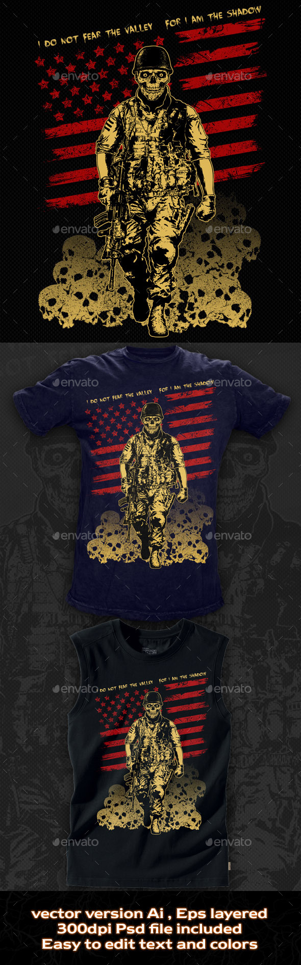 GraphicRiver T-shirt Illustration The Skull Soldier 10654485