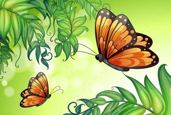 GraphicRiver Butterflies and Plants 10654864
