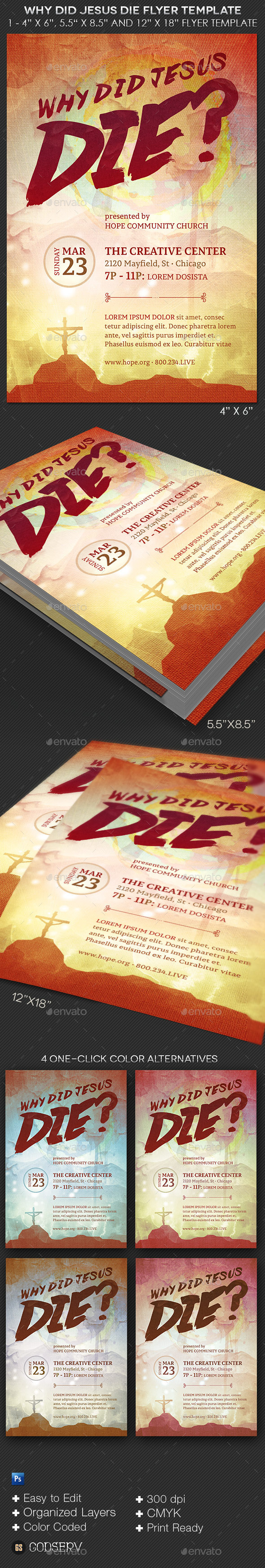 GraphicRiver Why Did Jesus Die Church Flyer Template 10654909
