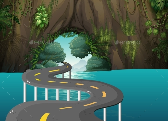 GraphicRiver Road through a Cave 10655332