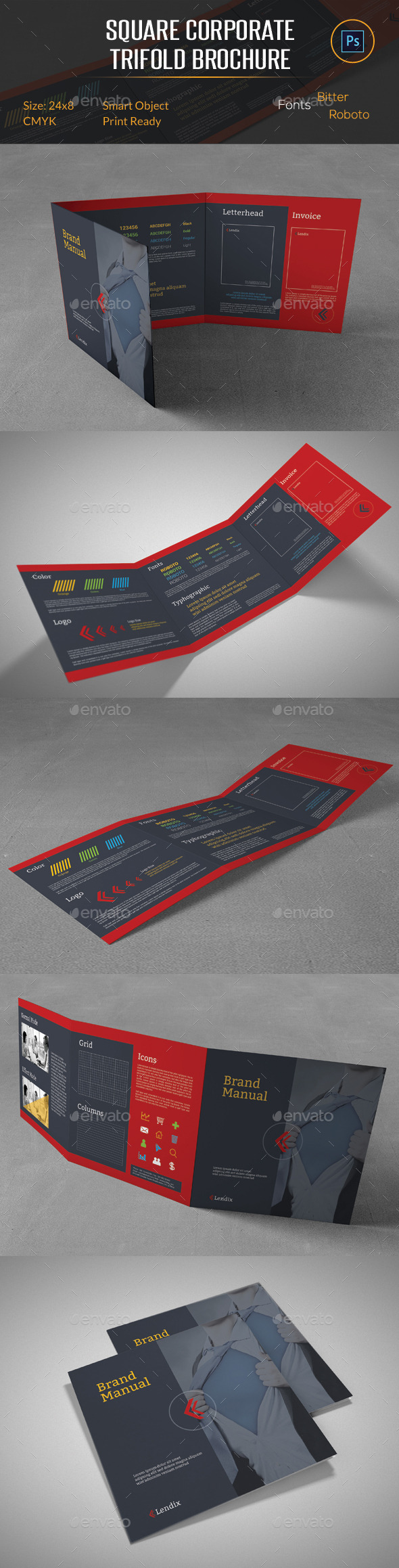 GraphicRiver Brand Manual Square Trifold Brochure 10655643