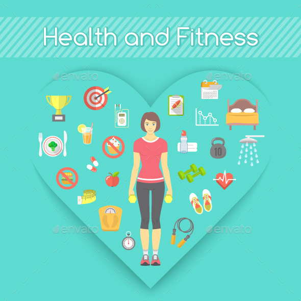 GraphicRiver Woman Health and Fitness Concept 10655659