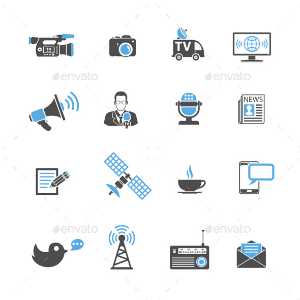 GraphicRiver Media and News Icons Set 10655816