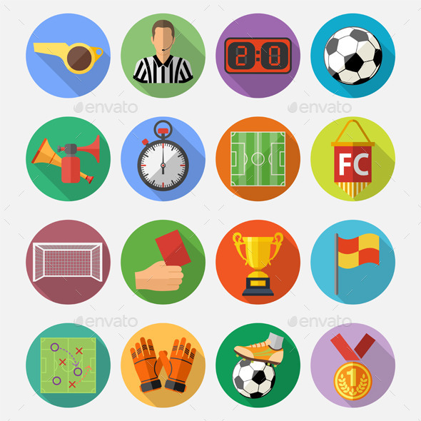 GraphicRiver Soccer Flat Icon Set 10655889