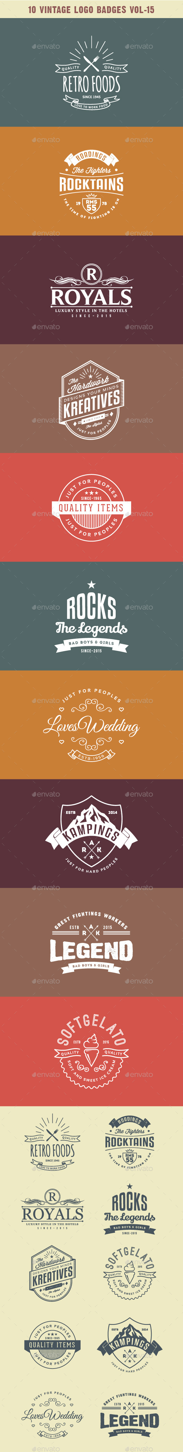 GraphicRiver 10 Vintage Logo Badges Vol-15 10646510