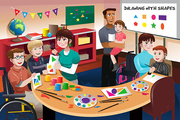 GraphicRiver Handicapped Students in a Classroom 10656621