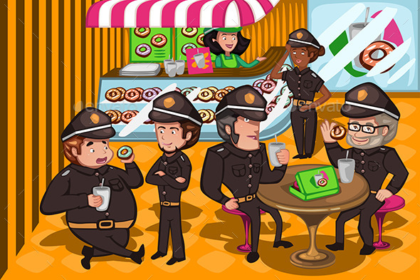 GraphicRiver Police Officers in a Donuts Store 10656674
