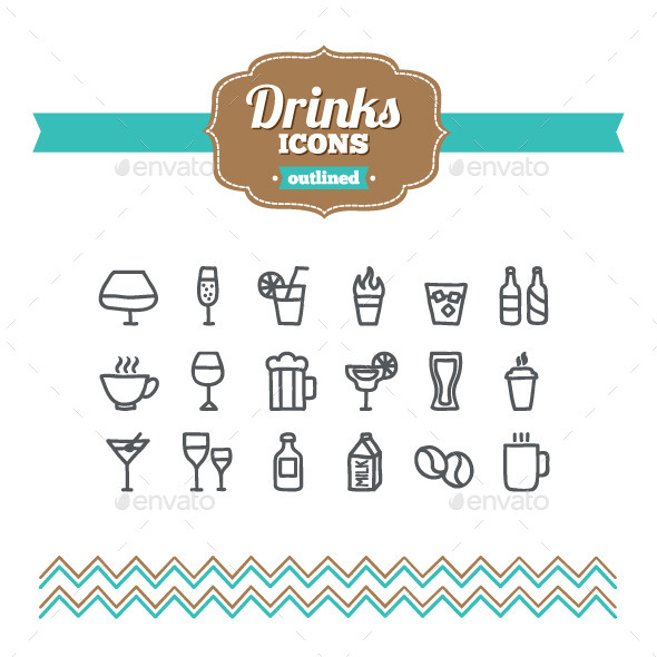 GraphicRiver Hand Drawn Drinks Icons 10656770
