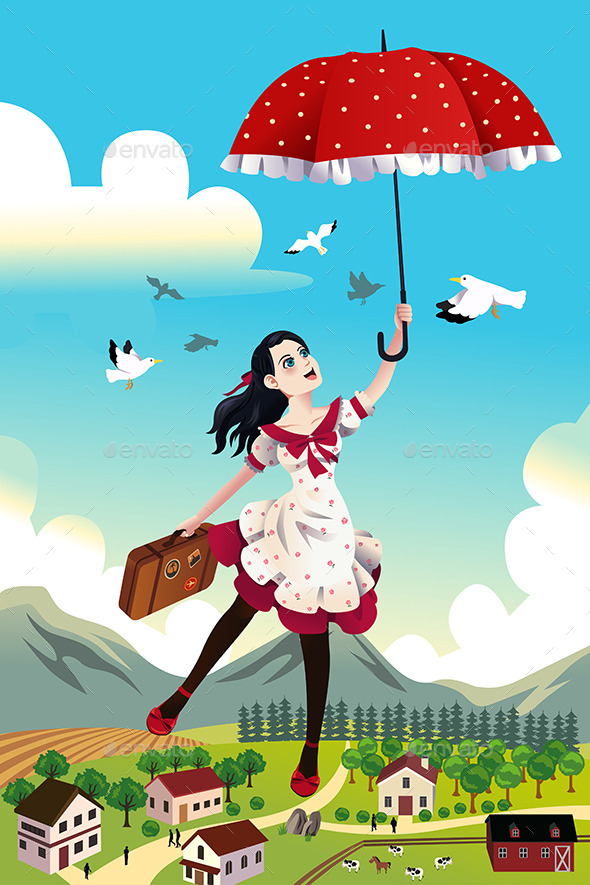 GraphicRiver Woman Holding an Umbrella Flying in the Air 10656818