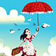 Woman Holding an Umbrella Flying in the Air - GraphicRiver Item for Sale