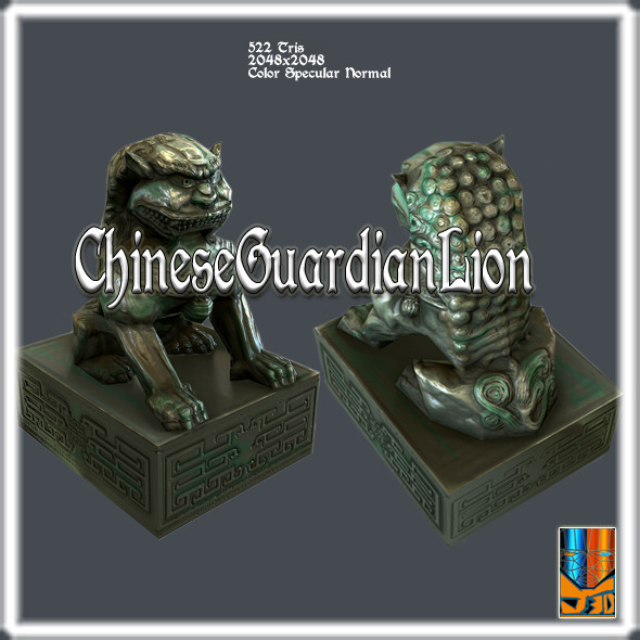 3DOcean Chinese Guardian Lion V1 10591889