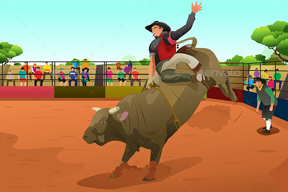 GraphicRiver Rodeo Rider in an Arena 10656888