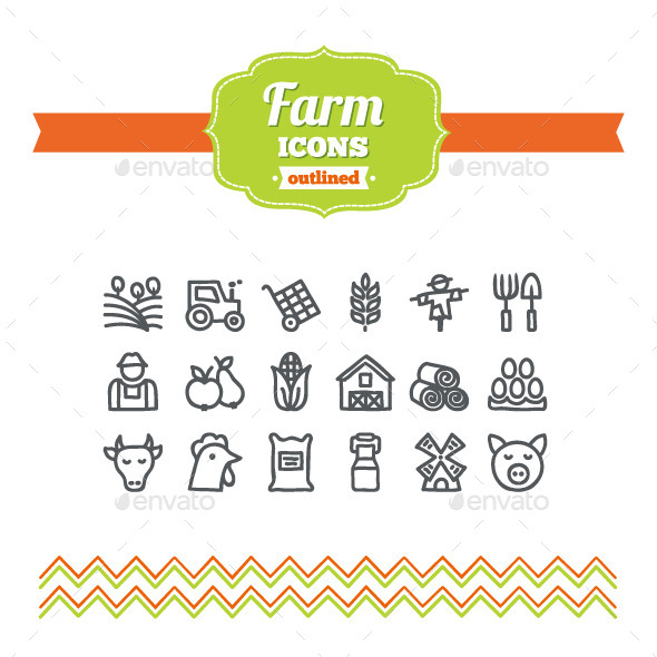 GraphicRiver Hand Drawn Farm Icons 10656997