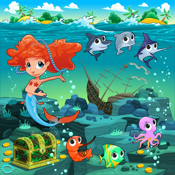 GraphicRiver Mermaid with Sea Animals 10657099