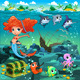 Mermaid with Sea Animals  - GraphicRiver Item for Sale