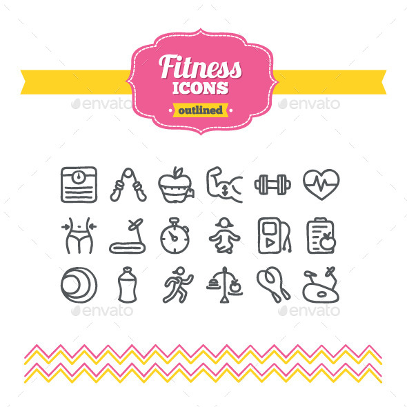 GraphicRiver Hand Drawn Fitness Icons 10657268