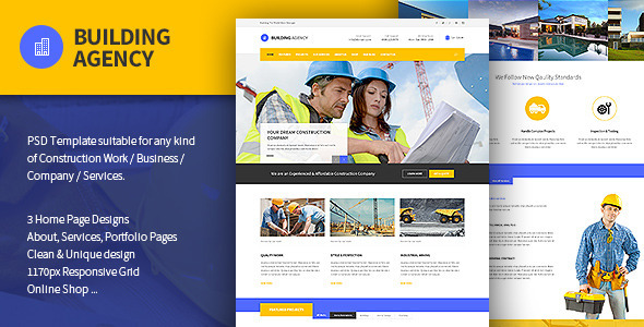 ThemeForest Building Agency Blog and Shop PSD 10607189