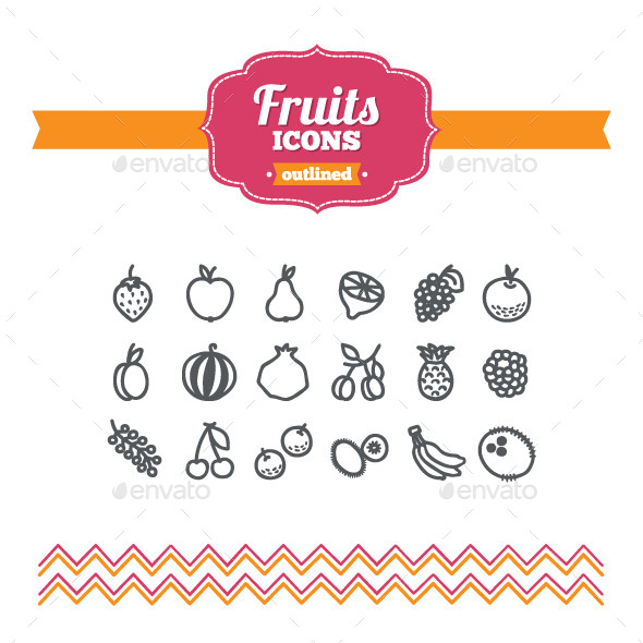 GraphicRiver Hand Drawn Fruits Icons 10658095