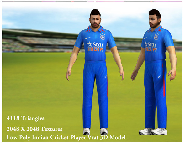 Low Poly Indian Cricket Player Vrat 3D Model - 3DOcean Item for Sale
