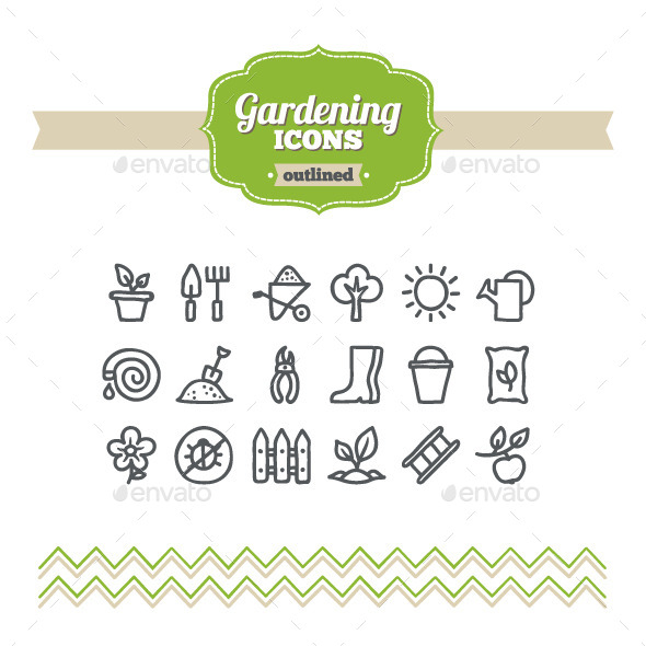 GraphicRiver Hand Drawn Gardening Icons 10658125