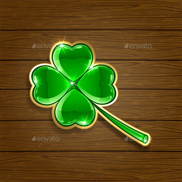GraphicRiver Clover on Wooden Background 10658143