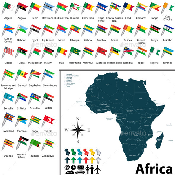 GraphicRiver Maps with Flags of Africa 10658146
