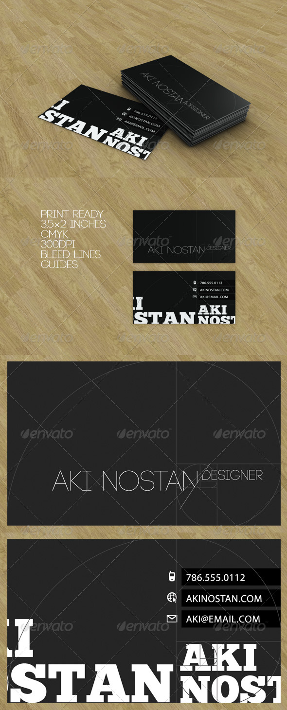 GraphicRiver Golden Ratio Black Business Card 133418