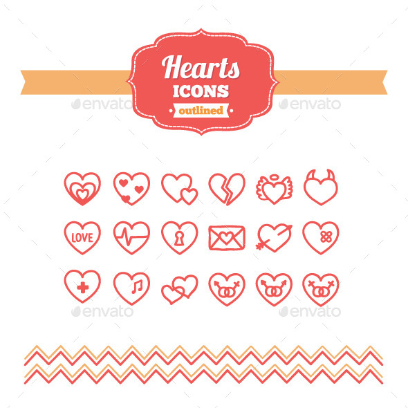 GraphicRiver Hand Drawn Hearts Icons 10658159