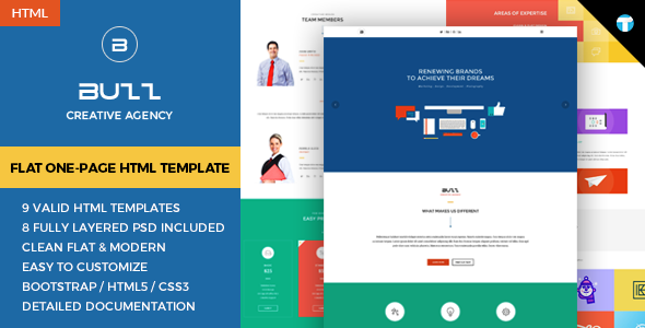 ThemeForest Buzz Flat Responsive Onepage HTML Site Template 10658160