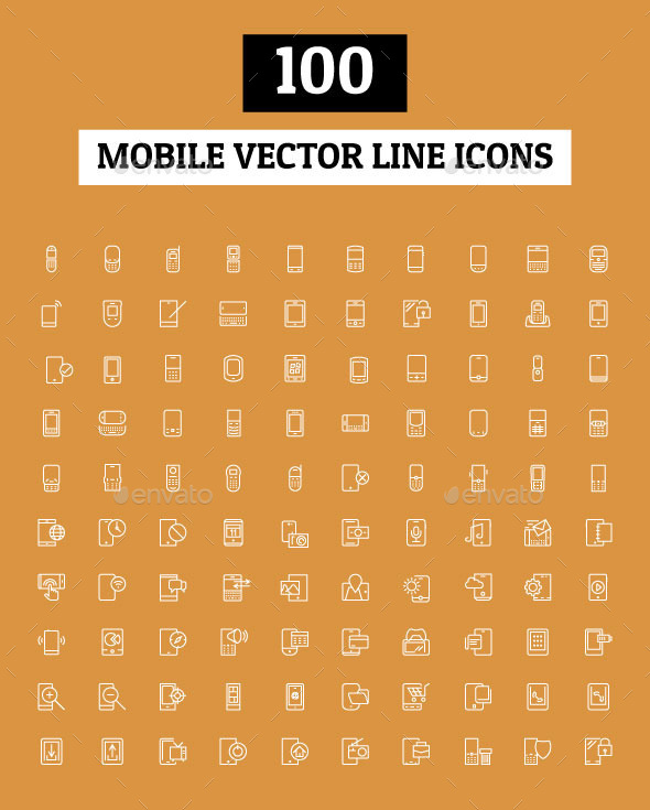 GraphicRiver 100 Mobile Vector Line Icons 10658441