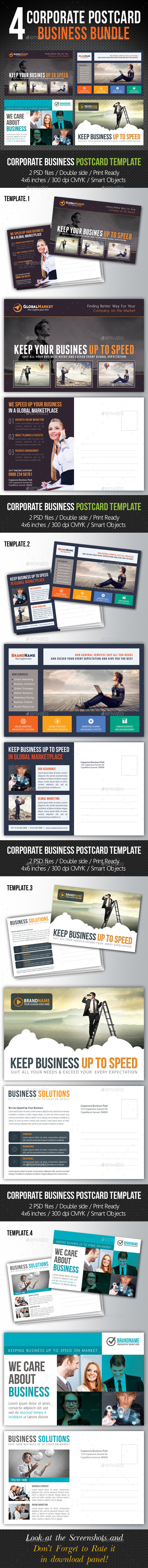 GraphicRiver 4 in 1 Corporate Business Postcard Bundle V02 10658529
