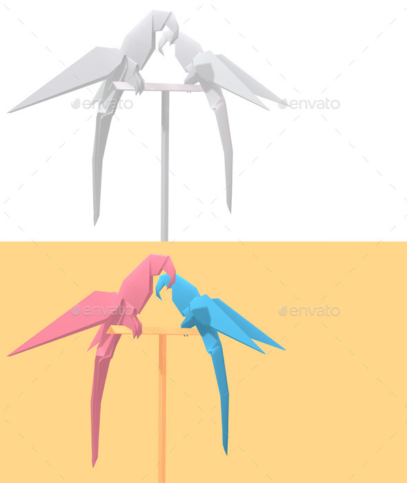 GraphicRiver Polygon Origami Parrots 10658581