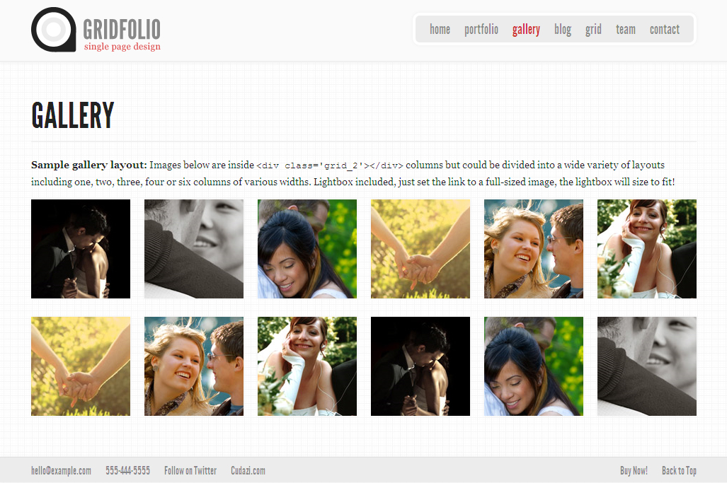 GridFolio - Grid Based Single Page Portfolio