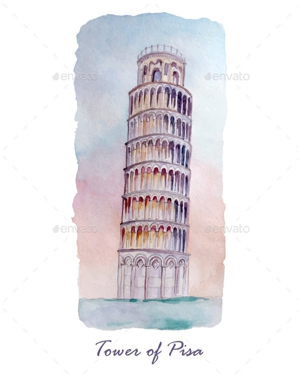GraphicRiver Tower of Pizza Watercolor 10658696