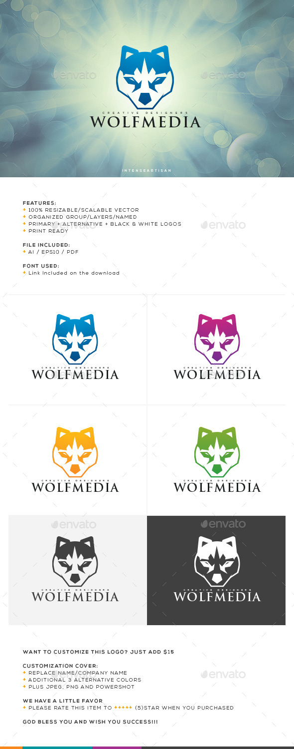 GraphicRiver Wolf Media Logo Template 10658804