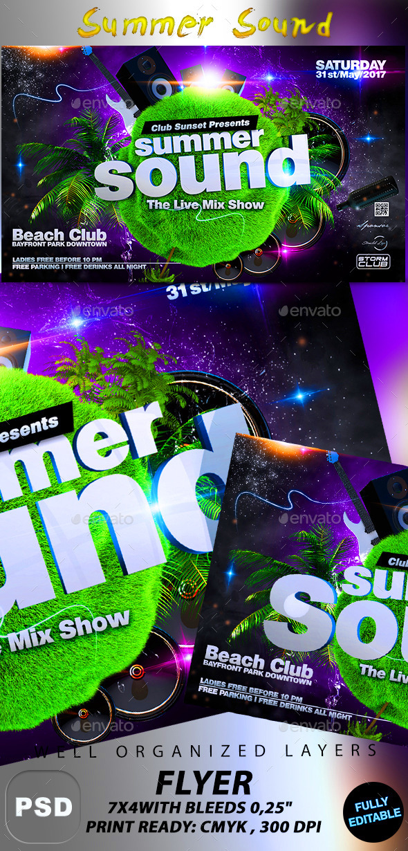 GraphicRiver Summer Sound Party Flyer 10659197