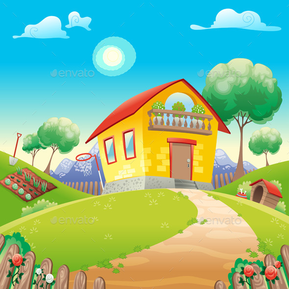 GraphicRiver House with Garden on the Countryside 10660282