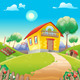 House with Garden on the Countryside - GraphicRiver Item for Sale