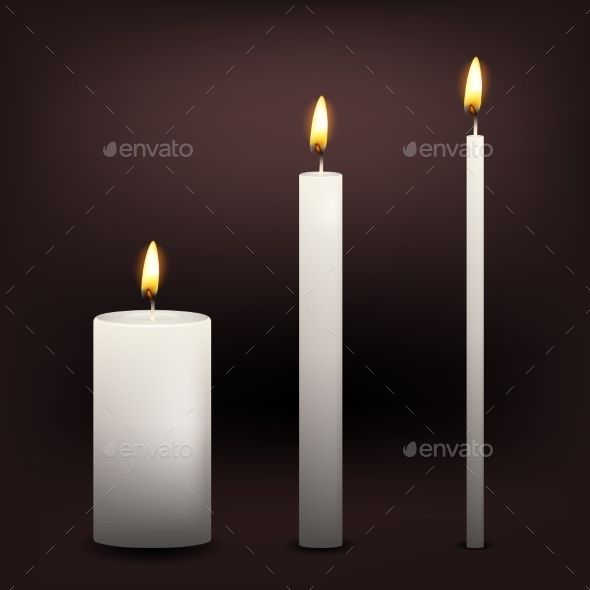 GraphicRiver Three Vector White Candles 10660387