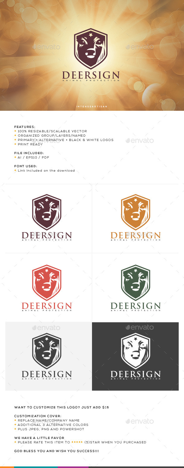GraphicRiver Deer Sign Logo Template 10660556