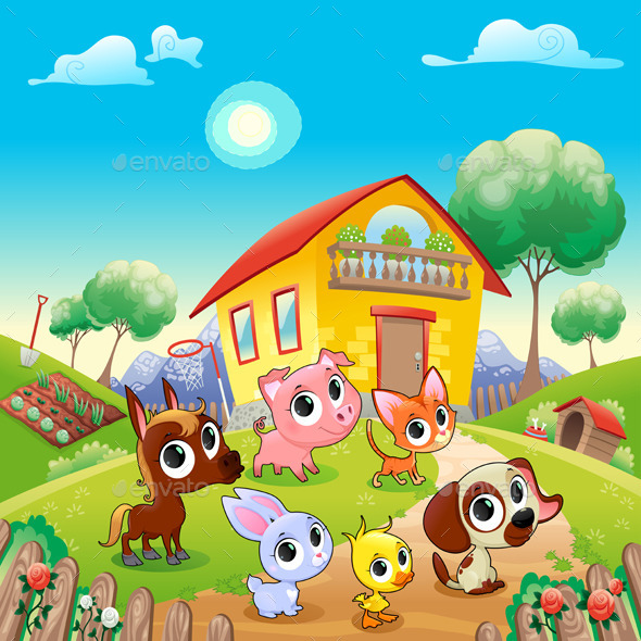 GraphicRiver Farm Animals in the Garden 10660692