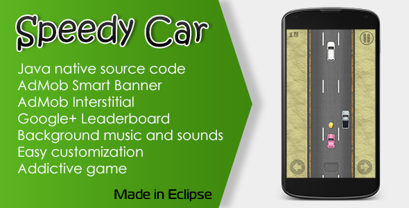CodeCanyon Speedy Car Game with AdMob and Leaderboard 10612308