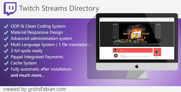 CodeCanyon Twitch Streams Directory with Paypal Integration 10661392