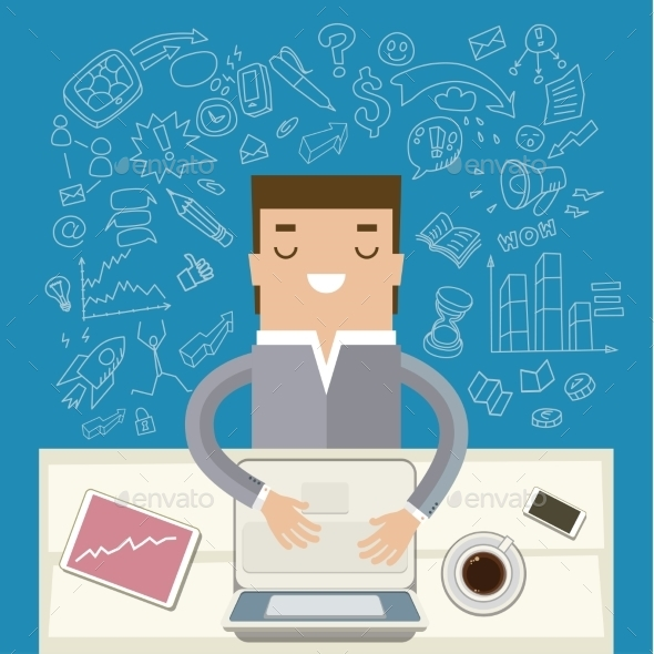 GraphicRiver Businessman Working at His Desk 10661513