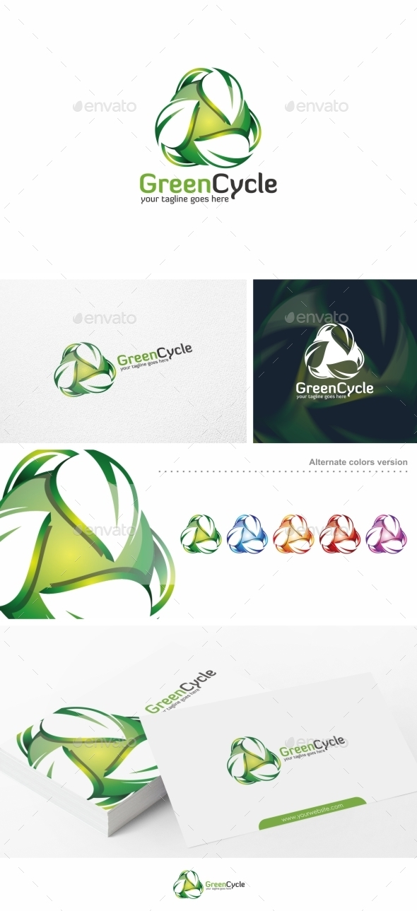 GraphicRiver Green Cycle Leaf Logo Template 10663287