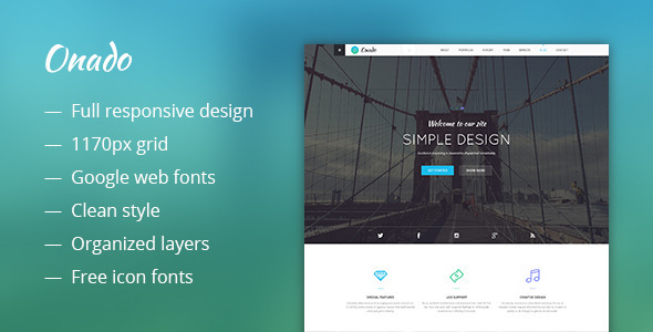 ThemeForest Onado One Page Template 10598401