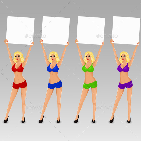 GraphicRiver Set of Boxing Ring Girls Holding a Board 10663910