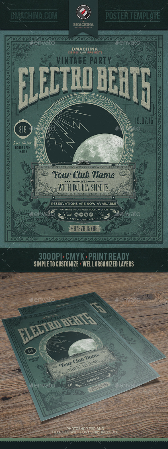 GraphicRiver Electro Vintage Beats Poster Template 10588017