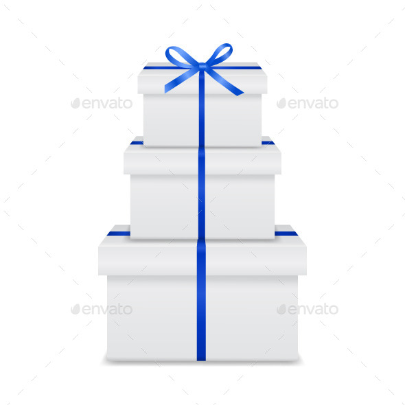 GraphicRiver Stack of Gift Boxes with Blue Ribbon and Bow 10663944